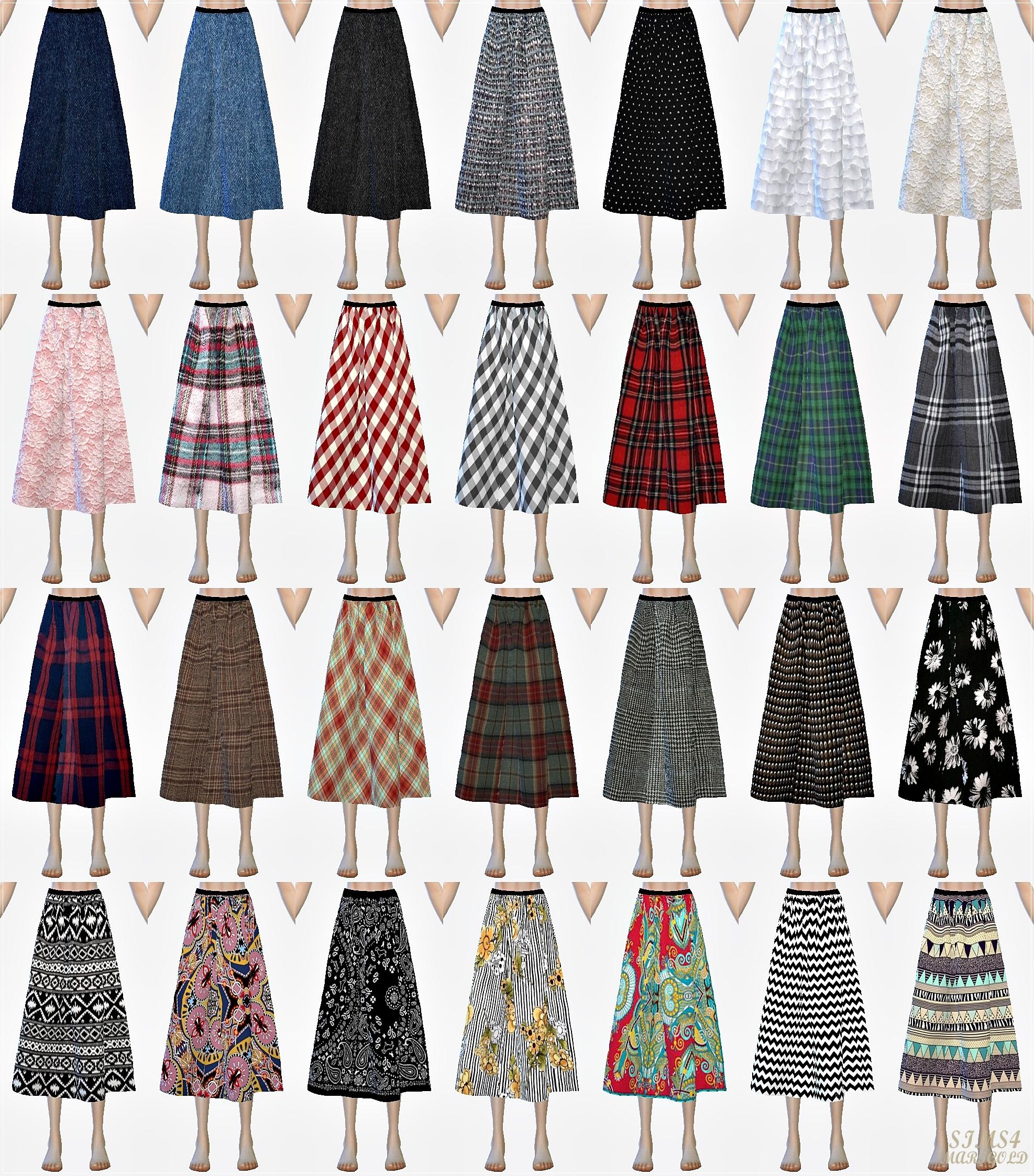 模拟人生4 28色花纹布料长裙子mod